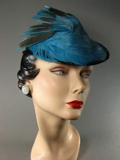 Circa 1940s feather hat.