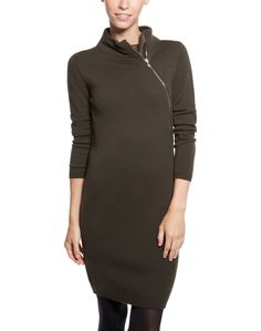 Merino Knit Zip-Up Turtleneck Sweater Dress