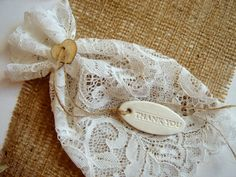 50 Wedding  Favor Bags with clay /Thank you/ tags, White Lace Favor Bags, by accessory8 on Etsy