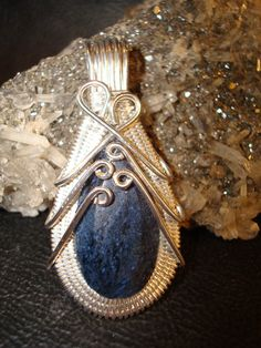 Dumortierite Wire Wrapped Silver Pendant by superioragates on Etsy, $35.00