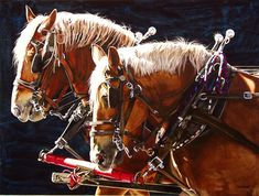 """""""Shared Hearts"""" by Marlin Rotach.  Watercolor.  Love the light on the horses heads and manes.  It just sings!"""
