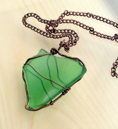 Heart of the Sea Necklace Sea Glass Pendant Freeform Copper Jewelry Metalwork Jewelry Beach Glass Ocean Pendant Wirewrapped Pendant by JennieVargasJewelry on Etsy