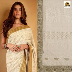 Tara Sutaria Actress who worked in Student of the Year 2, looks impeccably stunning in this #white #LakhnaviSaree donned in one of the best ensembles. She opted for Lucknowi #whitechikankari #Saree which had elaborate #goldmirror borders. The saree filled with sharp Chikan stitches and #Muqaish #embellishment. If you are thinking of matching up your fashion statement with loving star, #Adachikan will surely help you with this beautiful #Chikankarisaree match your charm. #ada #LucknowChikan