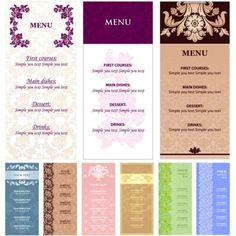 menu-templates-with-flowers-vector
