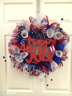 """""""Happy 4th of July"""" Red, White & Blue Deco Mesh Wreath"""