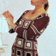 INSTANT DOWNLOAD PDF Vintage Crochet Pattern Granny Squares Dress 1970s Retro