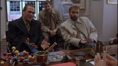 "The Fugitive / Tommy Lee Jones, Daniel Roebuck, and Joe Pantoliano question Jeroen Krabbe.  ""We're pretty smart, last I checked. I mean how smart could he be?  Is he as smart as you are Dr.?""  ""Smarter."""