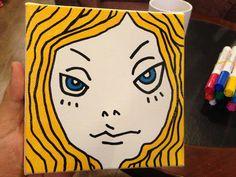 Blue eyes girl on canvas