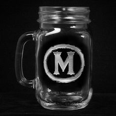 Rustic Engraved Mason Jar Mugs, Personalized Gifts, Mancave Glasses