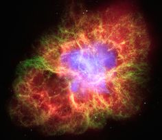 The Crab Nebula, and the rapidly spinning neutron star that powers it, are the remnants of a supernova explosion documented by Chinese and Middle Eastern astronomers in 1054. Description from asterisk.apod.com. I searched for this on bing.com/images