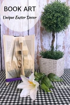 This book fold piece is a is a wonderful piece to add to your Easter decor. It keeps with the true meaning of Easter. #easterdecor #bookfoldart #bookfolding
