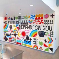 Lisa Congdon is an Illustrator and author based in Oregon. Middle School Art, Art School, Classe D'art, Office Mural, School Murals, School Painting, School Displays, Murals Street Art, Mural Wall Art