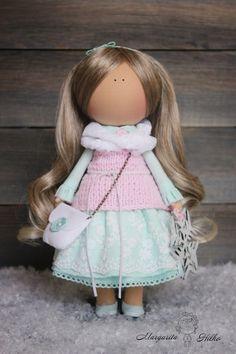 Decor doll blonde pink green Nursery decor от AnnKirillartPlace