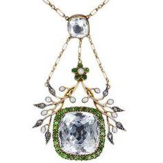 Antique Aquamarine and Demantoid Garnet Necklace at 1stdibs