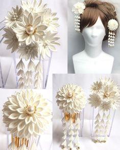 Kanzashi Flowers, Baby Headbands, Diy And Crafts, The Creator, Ribbon, Japanese, My Favorite Things, Wedding, Creema