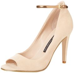 French Connection Women's Neola Dress Pump,Sand,37.5 EU/7 M US. Graceful pump with slender metallic ankle strap.