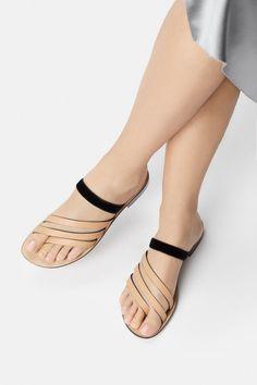 806dedbc0 The Capriana Slip-On Flat Sandal in Natural Black - Luxury Italian Flat  Shoes
