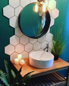 Bathroom interior design 421438477629749064 - Cool bathroom design with teal walls, hex tile backsplash and round mirror. Unusual tile installation and bright bold bathroom decor. Hexagon Backsplash, Hex Tile, Vanity Backsplash, Wall Tiles, Hexagon Tile Bathroom Floor, Paint Tiles, Tile Painting, Bathroom Inspiration, Bathroom Ideas