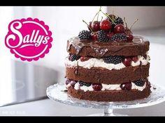 Sallys Blog - Naked Cake: Schokoladentorte mit Mascarponecreme, Kirschen und Brombeeren