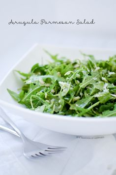 Arugula Parmesan Salad with Simple Lemon Vinaigrette | A Teaspoon of Happiness