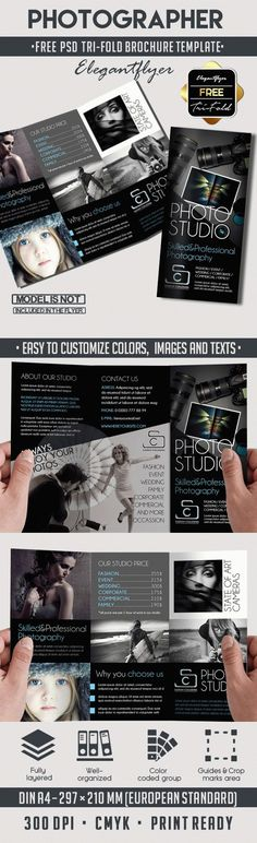 Photographer & Free Tri-Fold PSD Brochure Template => More at designresources. Event Flyer Templates, Brochure Template, Free Brochure, Business Brochure, Photo Studio, Coding, Tri Fold, Photoshop, Projects