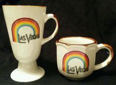 Las Vegas Rainbow Collectible mugs Vintage Stoneware Coffee Two  Pottery Mugs.