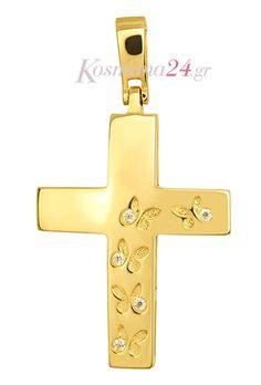 ΧΡΥΣΟΣ ΓΥΝΑΙΚΕΙΟΣ ΣΤΑΥΡΟΣ Wall Crosses, Cross Jewelry, Cross Paintings, Byzantine, Christening, Special Day, Shower Ideas, Baby Shower, Necklaces
