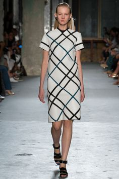 Also several looks featuring leather panels sewn together with crochet -- Proenza Schouler NYFW S15 RTW