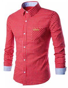 Yesfashion Men Button Down Shirts Classical Causual Grid T-Shirt - Yesfashion.com in Free Shipping