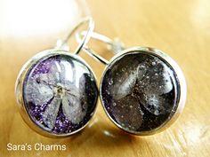 Ohrhänger - Ohrringe mit echten Blüten lila - ein Designerstück von Saras_Charms bei DaWanda