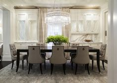 Traditional dining room with art deco chandelier illuminating black lacquered dining table surrounded by gray tufted dining chairs Dining Room Sets, Dining Room Design, Tufted Dining Chairs, Diy Home, Home Decor, Baker Furniture, House And Home Magazine, Sideboard, New England