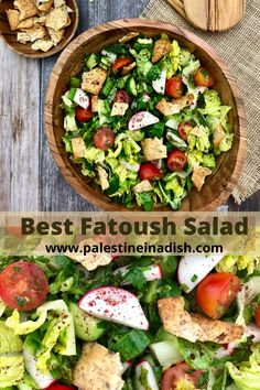 An easy authentic simple recipe for fatoush salad. Middle East Food, Middle Eastern Recipes, Vegetarian Recipes, Cooking Recipes, Healthy Recipes, Fatoush Salad, Turkish Recipes, Lebanese Recipes, Rabbit Food