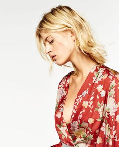 Image 7 of PRINTED BODYSUIT WITH CROSSOVER NECKLINE from Zara