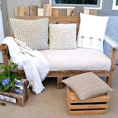 Learn how to build an outdoor sofa out of wood pallets! (via Funky Junk Interiors)