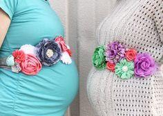DIY Make a Pretty Flower Pregnancy Maternity bump sash.....great gift too! Show off that cute babyhome tummy!