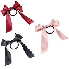 Polytree 3pcs Womens Fashion Satin Ribbon Bow Hair Band Rope Ponytail Holder *** See this great product.Note:It is affiliate link to Amazon.