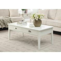 Make a perfect functional solution in any living space with this Home Decorators Collection White Amelia Coffee Table. Table Decor Living Room, Living Room Furniture, Accent Furniture, Furniture Decor, Living Room Designs, Living Spaces, Coffee Table With Drawers, Drawer Design, Amelia