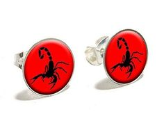 Scorpion Black on Red Novelty Silver Plated Stud Earrings, Women's