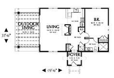 Southwest Plan: 972 Square Feet, 1 Bedroom, 1 Bathroom - 2559-00102 Custom Home Designs, Custom Homes, Texas Homes, New Homes, Spanish Bungalow, Coastal Homes, Tiny Living, New Construction, Square Feet
