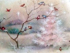 Vintage Christmas Pink Tree Birds Graphic Image Art Fabric Block Doodaba 5 x 7 Pink Christmas Tree, Christmas Scenes, Retro Christmas, Christmas Art, Christmas Greetings, Xmas, Vintage Christmas Images, Vintage Holiday, Christmas Pictures