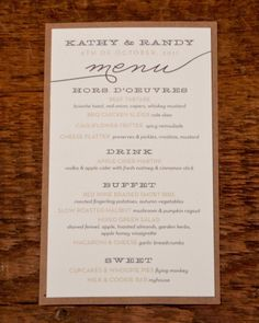 Rustic Menu Card For a down-home affair that focuses on comforting favorites, opt for this casual but clean design.
