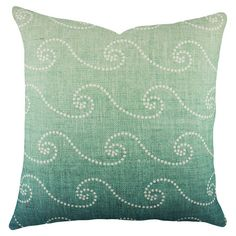 Joss & Main: handcrafted cotton pillow, featuring an ombre wave motif for coastal appeal