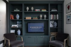 Built In Wall Units, Built In Shelves Living Room, Living Room Wall Units, Built In Bookcase, New Living Room, Living Room Decor, Bookcases, Living Room Cupboards, Bookshelves With Tv