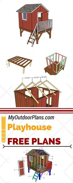 Learn how to build an elevated backyard playhouse, so you can keep the kids entertained. Check out my free outdoor playhouse plans and follow the step by step instructions at MyOutdoorPlans.com #diy #playhouse #backyardplayhouse #outdoorplayhousediy #outdoorplayhouseplans #kidsplayhouseplans