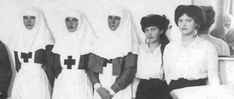 Empress Alexandra (Center) with her daughters Grand Duchesses Tatiana, Olga, Anastasia and Marie. The Empress and her eldest two daughters had been trained as Red Cross nurses and aided physicians in the military hospital in the Catherine Palace in Tsarskoe Selo