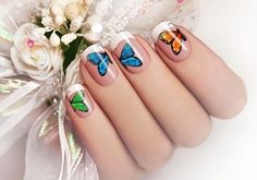 15 Colorful Butterfly Nail Art Ideas and Tutorial: White Acrylic Nails with Colorful Butterfly Nail Art