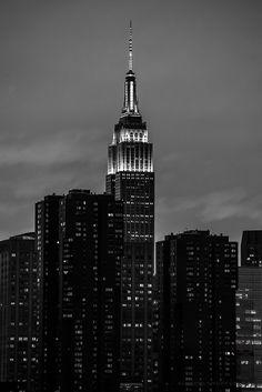 Empire State Building Sunset - New York City - Black and White by KimberlyMufferi on Etsy https://www.etsy.com/listing/258036813/empire-state-building-sunset-new-york