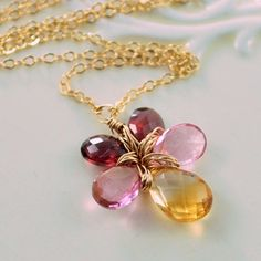 Flower Necklace Semiprecious AAA Gemstone Citrine by livjewellery
