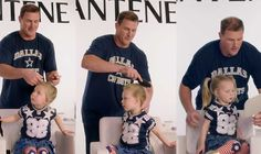 "ALL the FEELS! Strong Girls grow up to be STRONG WOMEN. Jason Witten and Other NFL Players Attempt ""Dad-Dos"" With Their Daughters' Hair"
