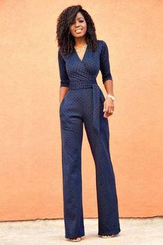 61153eb798b Rerasser Autumn Elegant Blue V Neck Jumpsuits Women Half Sleeve Lace Print  Jumpsuit Female Formal Work Long Pants One Piece